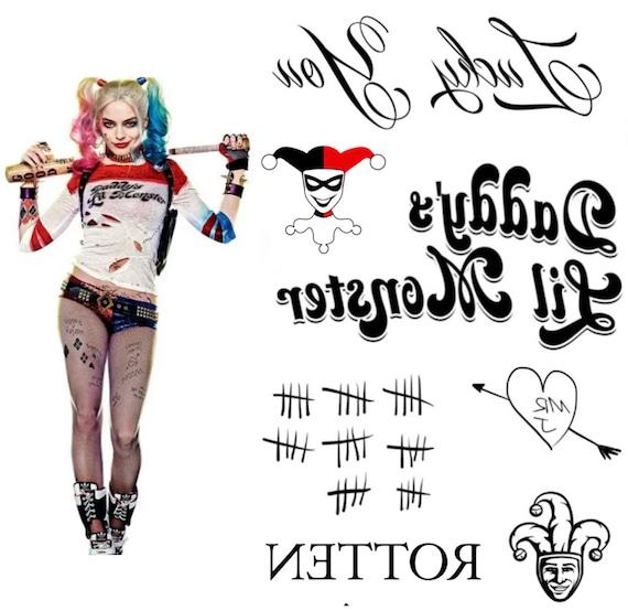 Tatuajes temporales del Harley Quinn Costume traje de Harley | Etsy