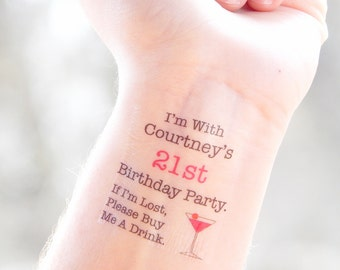 21st Birthday Party Temporary Tattoos - 21st Birthday Party Favors