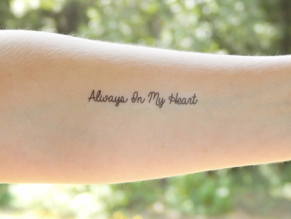 Temporary Tattoo Always In My Heart In Memory Of Love Etsy