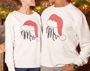 Our First Christmas Pajama Sweatshirt, Couples Christmas pajama, Matching Christmas Pajamas, Mr and Mrs Couple Shirts, Newlywed Wedding gift