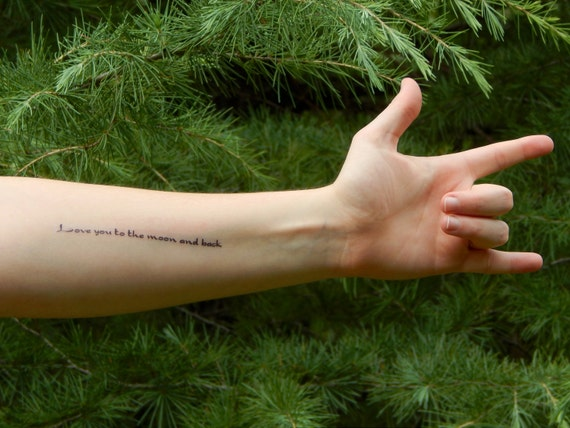 Love You To The Moon And Back Temporary Tattoo Quote Etsy