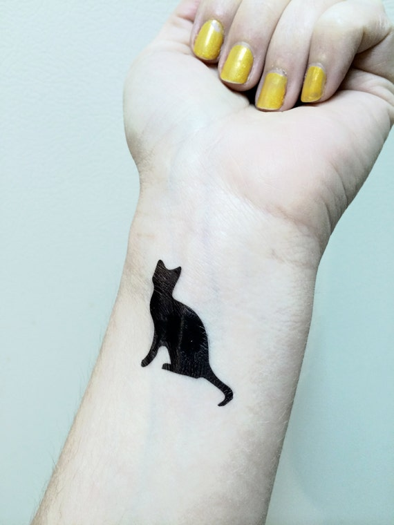 chat tattoo tatouage temporaire chat noir kitty cat tat | etsy