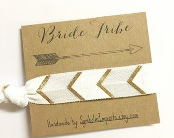 Bride Tribe Hair Ties - Bachelorette Party Favor - Bridesmaids Bohemian Metallic Gold Boho Tribal Aztec - Bachelorette Party Hair Tie Favors