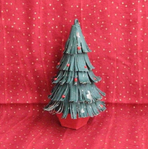 Vintage Metal Christmas Tree Shaped Ornament Taiwan Etsy