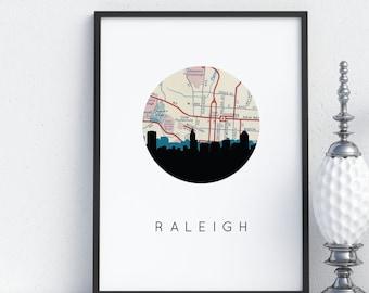 Raleigh NC map art, Raleigh skyline art print, Raleigh North Carolina art, Raleigh art print, North Carolina map art, Raleigh print