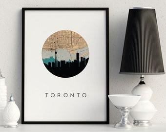 Toronto skyline, Toronto map, Toronto art, Toronto, Ontario, Canada art, city skyline print, vintage map decor, Canada map print