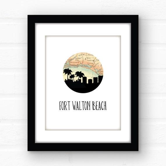 Florida beach art | Fort Walton Beach, Florida map art | Florida beach  decor | Florida panhandle | Florida print | Florida souvenir