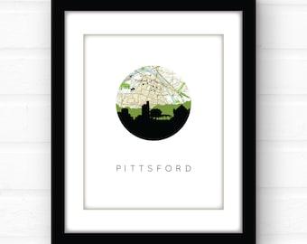 Pittsford, New York city skyline art print | Pittsford, New York skyline wall art | Upstate New York state decor | Pittsford NY wall art