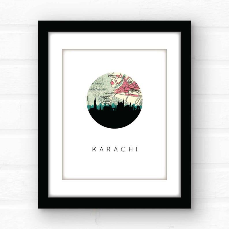 Map Of Asia Karachi.Karachi Pakistan City Skyline Wall Art Asia Skyline Art Travel Poster City Skyline Poster City Skyline Print Asia Travel Poster