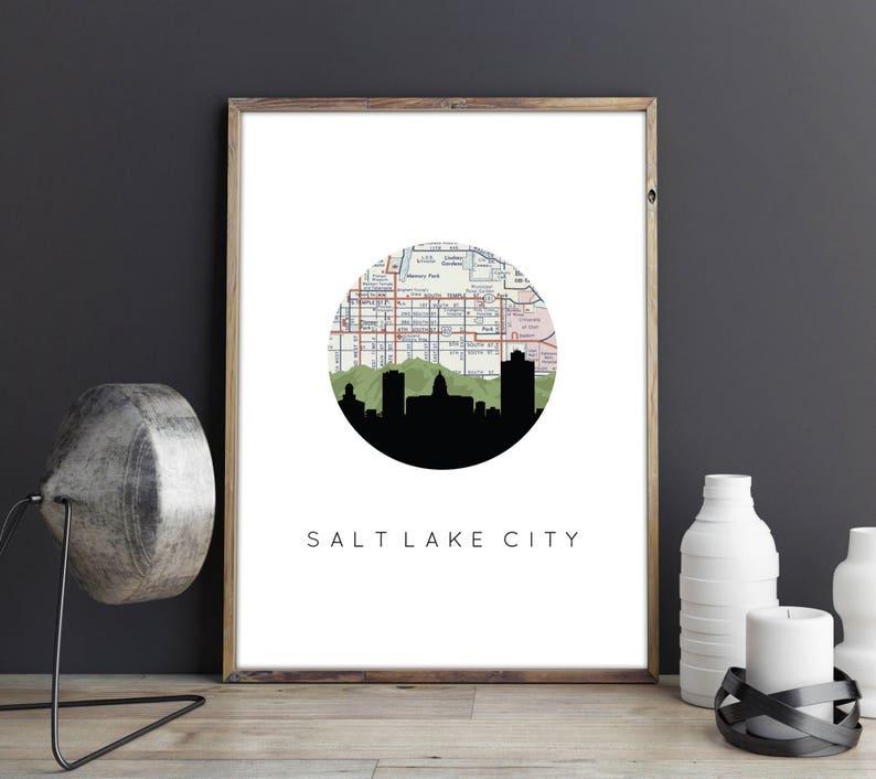 Salt Lake City maps Salt Lake City print Salt Lake City | Etsy Dwr Utah Maps on