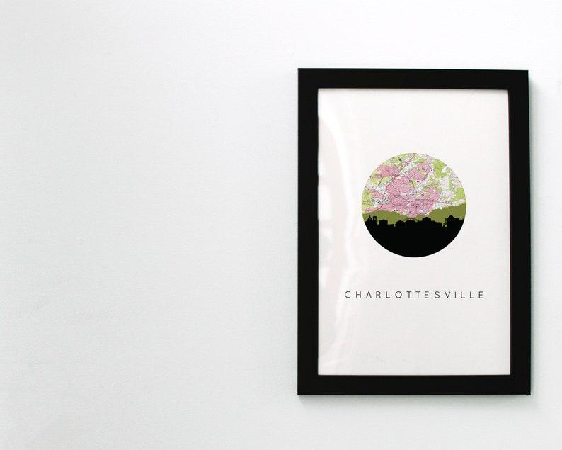 University of Virginia map art Charlottesville VA map dorm room decor Virginia map print Charlottesville map Virginia wall art