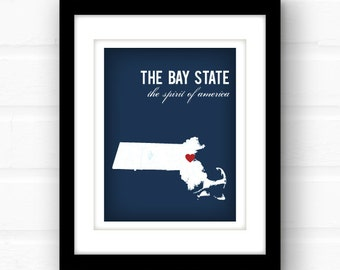Massachusetts map | Massachusetts art print | Massachusetts print// Boston, Massachusetts | Worcester, MA | custom state wall art