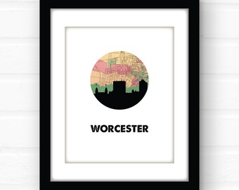 Worcester, Massachusetts wall art | Massachusetts map art | Massachusetts print | Massachusetts art | travel poster | city skyline art