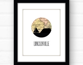 Lincolnville, Maine map art | Maine art print | Maine print | travel poster | Maine souvenir | New England art print | sailboat silhouette
