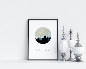 Richmond Virginia, Richmond VA art, Richmond skyline,  Richmond map, city skyline print, travel poster, vintage map art