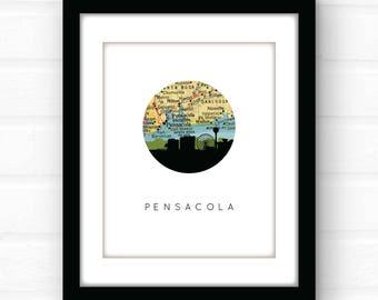 Pensacola, Florida map print | Florida beach decor | Florida home decor | Florida pandhandle | Gulf Coast decor | travel poster art