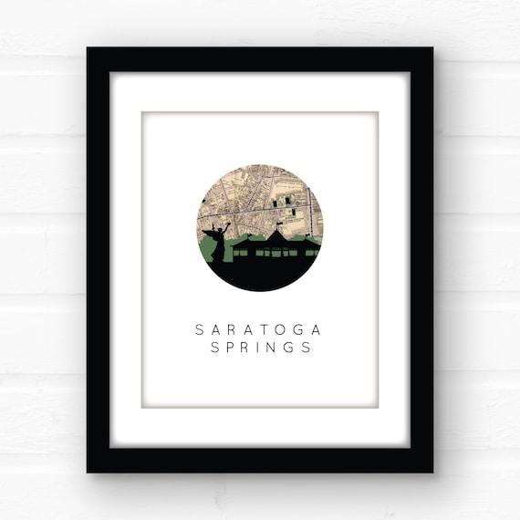 Saratoga New York Map.Saratoga Springs Ny New York Map Print Saratoga New York Etsy