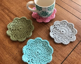 Crocheted cup coasters