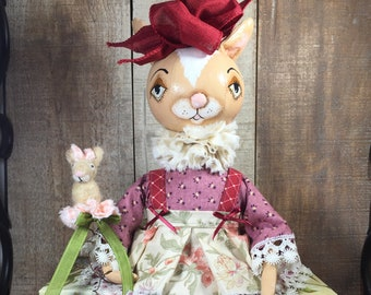 Folk Art Cloth Rabbit Bunny Doll OOAK Easter Spring Collectible by Mibrkycreations
