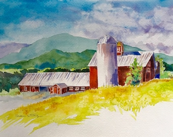 Red Barn Watercolor Print, New England Art, Vermont Green Mountains, Home Decor, landscape