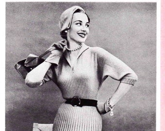 Instant Download PDF Vintage Mid-Century Knitted Dress Pattern