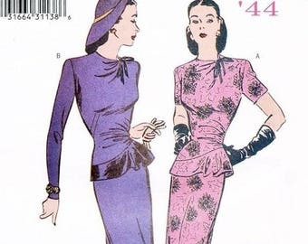 Butterick Retro #6461 1940s women's dress reissued pattern uncut and factory folded Out of Print