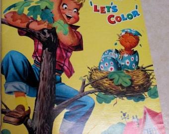"Vintage color book 1950's 60's ""Chipper Says Let's Color"" children's coloring activity book retro pictures Resource Publishers kitsch decor"