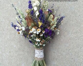 Purple Dried Flower Wedding Bouquet