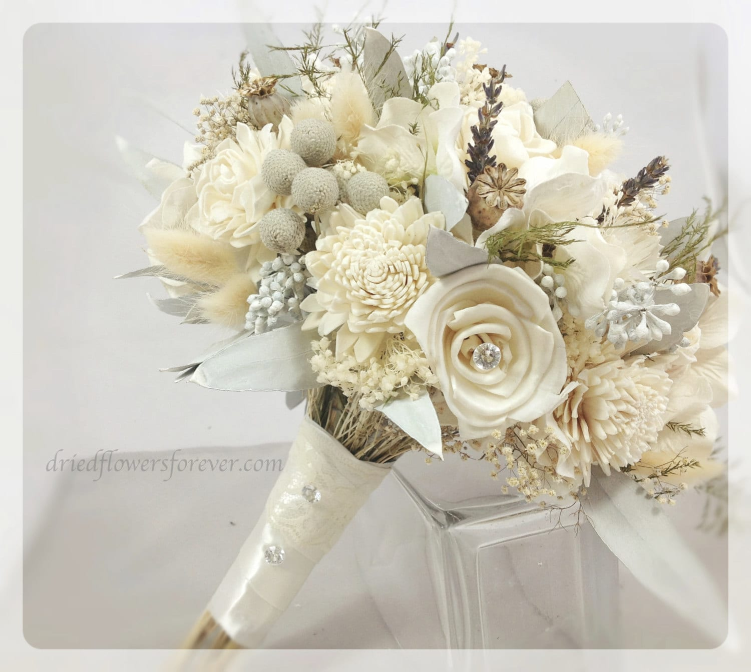 Dried preserved flower wedding bouquet alternative bridal etsy dried preserved flower wedding bouquet alternative bridal bouquets gem cream white sola gray lavender brunia silver ice collection izmirmasajfo