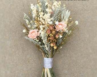 Peach Dried Flower Wedding Bouquet-Bridal-Pale Pink-Blush-Vintage-Ships out in 5-7 days from WI