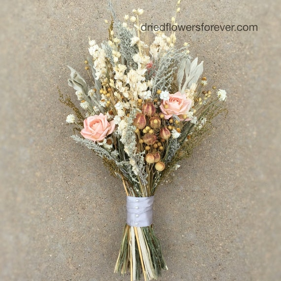 Peach Dried Flower Wedding Bouquet Preserved Natural Bridal Bouquets Grey Herbs Gray Woodland Rustic Vintage Wildflower Collection
