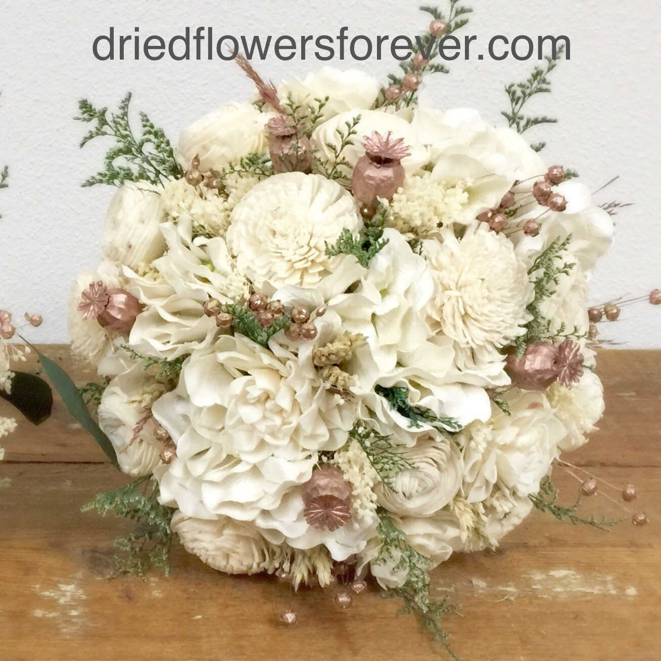 Rose Gold Wedding Bouquet Preserved Dried Flowers Pink Etsy