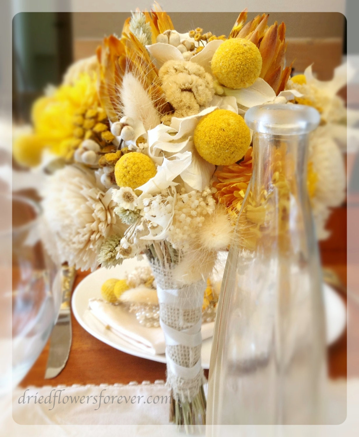 Yellow Wedding Bouquet Dried Preserved Flowers Bridal Etsy