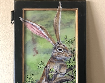 Jack the Rabbit: Handpainted Rabbit on Vintage Cabinet Door