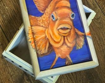 California Garibaldi fish hand painted small box