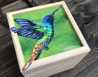 Handpainted Colorful Hummingbird Small Box
