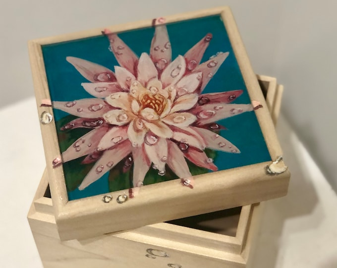 Water Lily hand painted wood box