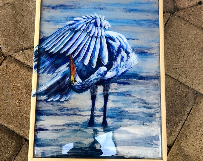 Find Your Wings: Crane hand painted poplar box