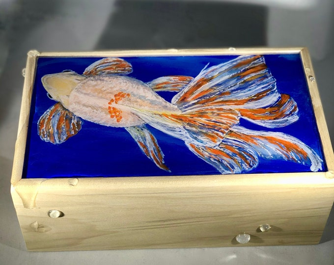 Fancy Goldfish hand painted wood box