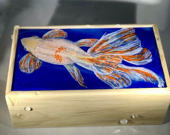 Fancy Goldfish hand painted wood box