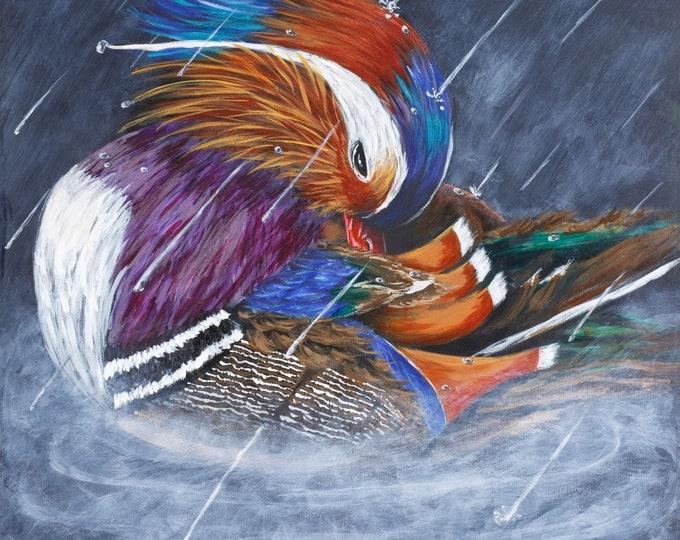 Mandarin Duck painting on wood panel