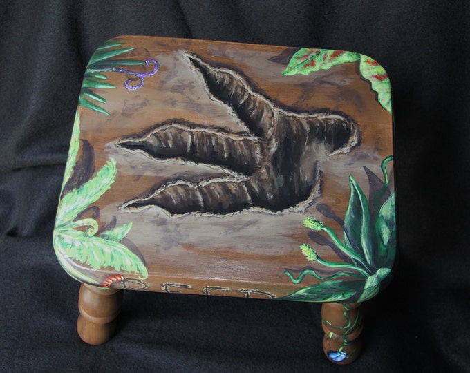 Handpainted dinosaur footprint child's footstool