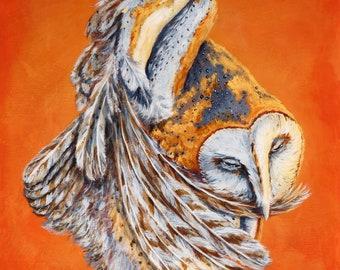 Barn owl painted on wood panel