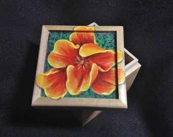 California Golden Poppy handpainted small box