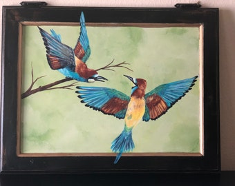 Ruffled Feathers: Handpainted European Bee-eater birds on Vintage Cabinet Door