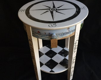 Hand painted Southern California Themed Accent Table