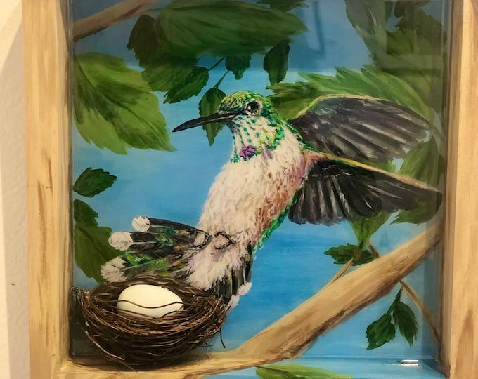 Mixed media Hummingbird and Nest wall art