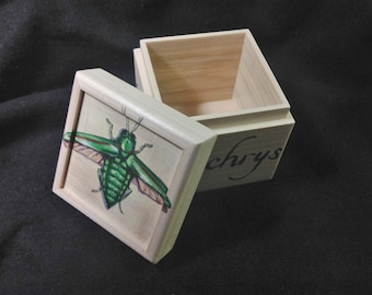 Green Jewel Beetle hand painted small box