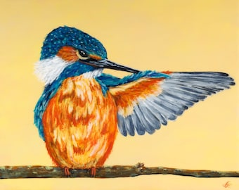 Kingfisher painting on wood panel