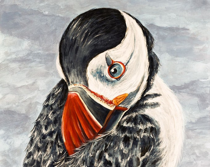 Puffin painting on wood panel